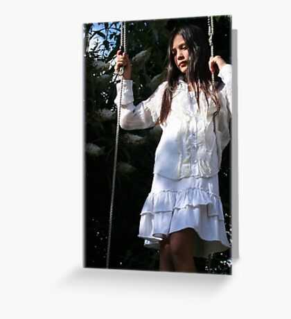 girl in a swing Greeting Card