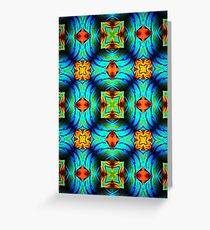 Lime, Blue, Orange, Abstract  Greeting Card