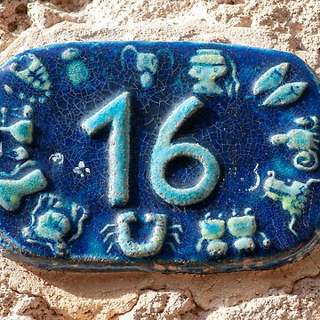 Israel, Jaffa, Ceramic numbers zodiac signs the number sixteen by PhotoStock-Isra