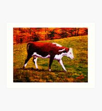 Cow in the Autumn Pasture Art Print