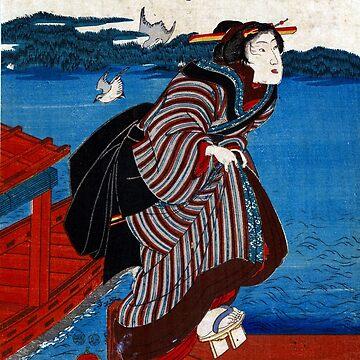 Young Woman At Sanbashi - Kuniyoshi Utagawa - 1844 - woodcut by CrankyOldDude