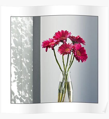 Bottle With Gerberas Poster