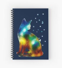 Galactic Space Cat On Milky Way, Cat, Space, Galaxy Spiral Notebook
