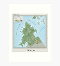 Daemyrs Topographical Map Art Print