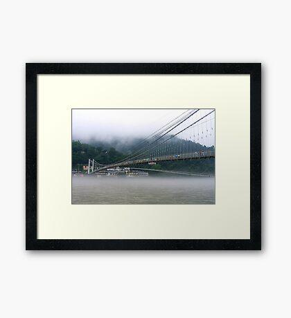 Morning Mist at Lakshman Jhula Framed Print