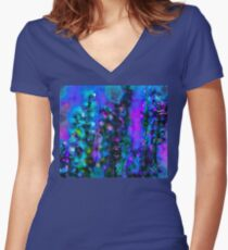 Abstract Art Floral Women's Fitted V-Neck T-Shirt