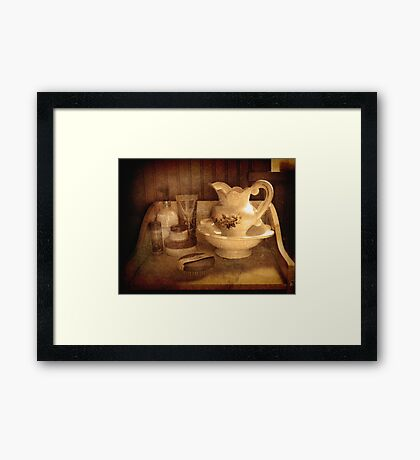 Still Life.     (Bathroom dresser  ) Framed Print