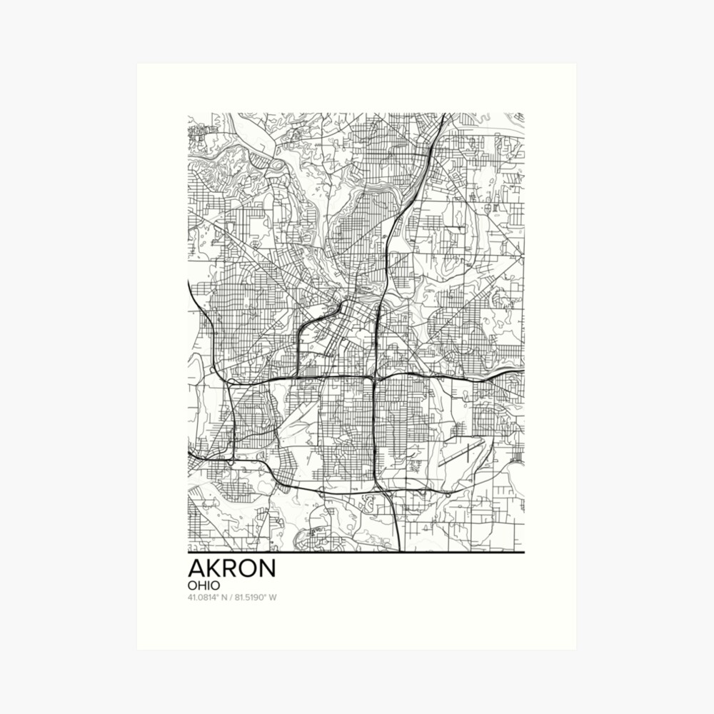 image regarding Printable Map of Ohio known as Akron map poster print wall artwork, Ohio present printable, Household and Nursery, Progressive map decor for business office, Map Artwork, Map Presents Artwork Print