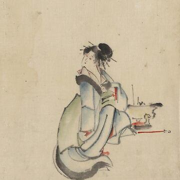 A Woman Possibly A Courtesan - Hokusai Katsushika - 1850 by CrankyOldDude