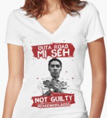 Outa Road! - #FREEWORLBOSS TEE Women's Fitted V-Neck T-Shirt