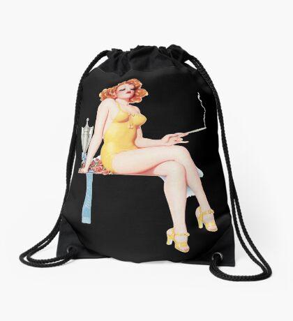 Tasty Pinups™ Vintage Red Head Smoking Hot Drawstring Bag
