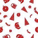 Rot auf weißen Kiefern, Strickjacken, Bechern und Socken im nahtlosen Feiertagsmuster für einen Hintergrund oder eine Tapete von camertone