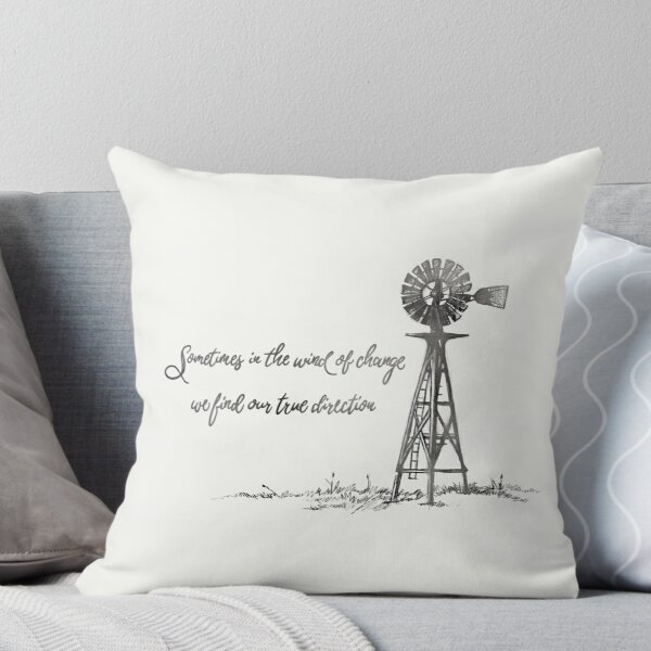Windmill Quote Throw Pillow Throw Pillow