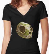 cat skull decorated with wasabi flowers Women's Fitted V-Neck T-Shirt