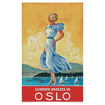 Summer Breezes in Oslo (Norway) - Vintage Travel Poster Design by Chunga