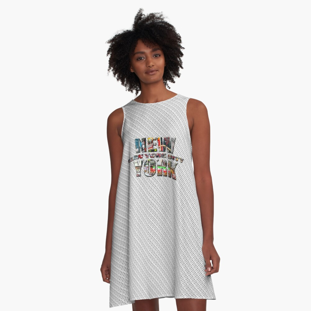 NEW YORK CITY (colour photo-filled type on B&W type background) A-Line Dress