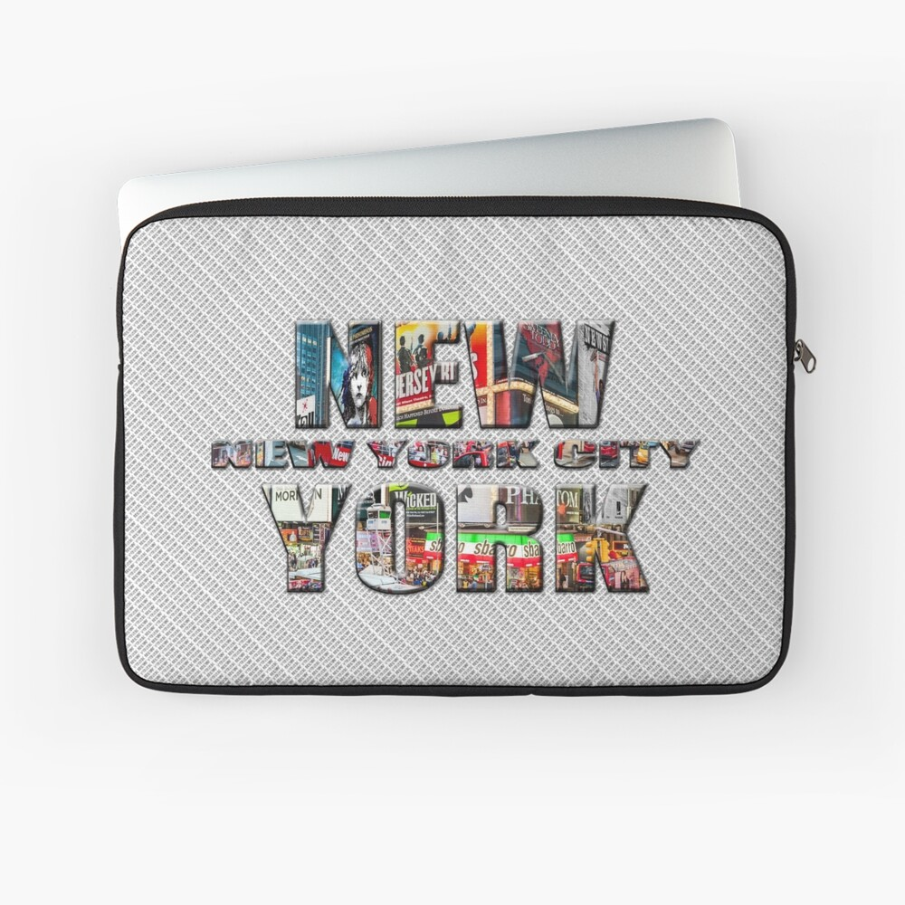 NEW YORK CITY (colour photo-filled type on B&W type background) Laptop Sleeve