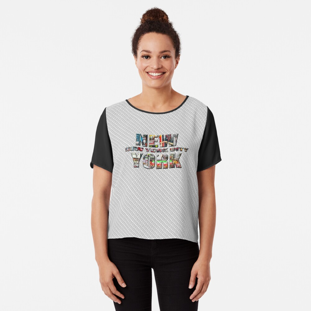 NEW YORK CITY (colour photo-filled type on B&W type background) Chiffon Top
