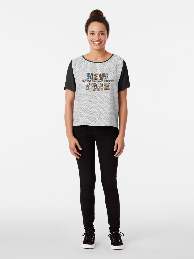Alternate view of NEW YORK CITY (colour photo-filled type on B&W type background) Chiffon Top