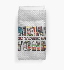 NEW YORK CITY (colour photo-filled type on B&W type background) Duvet Cover