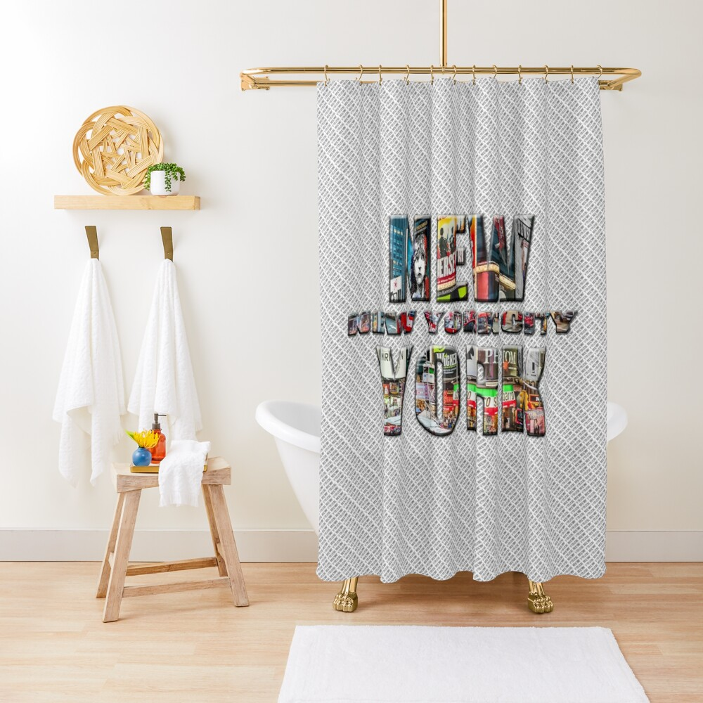 NEW YORK CITY (colour photo-filled type on B&W type background) Shower Curtain