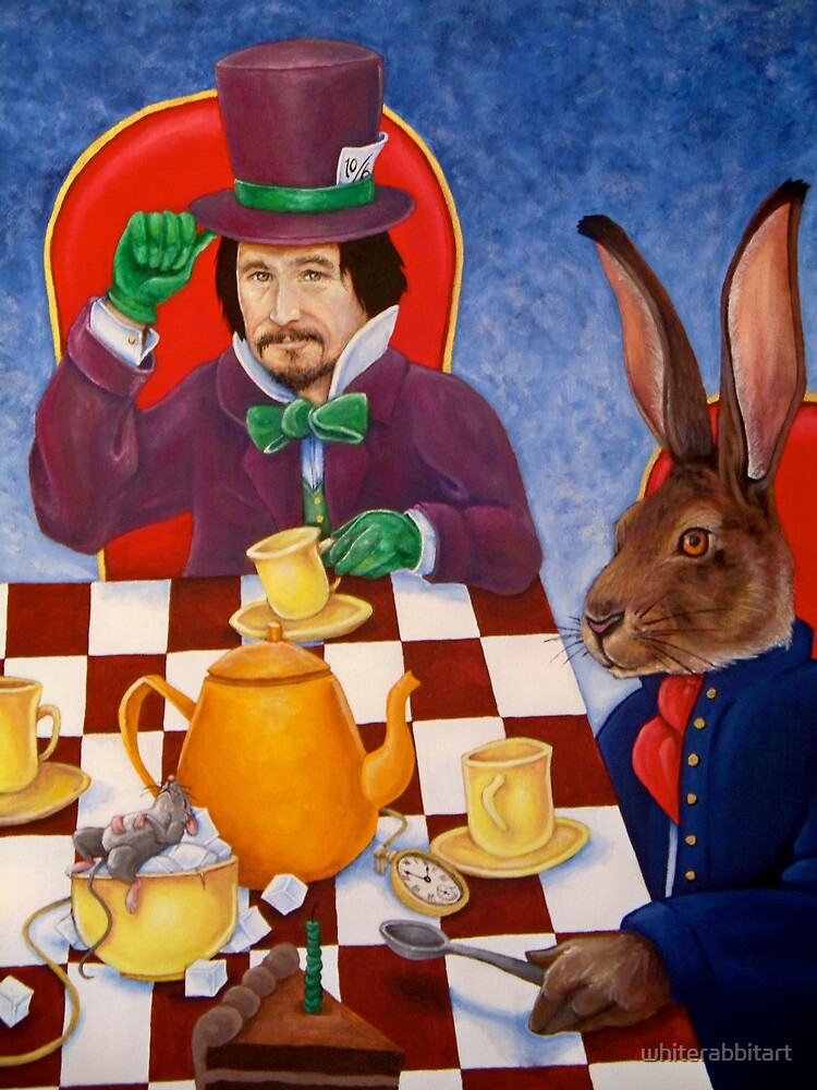 Mad Hatter and March Hare's tea party by whiterabbitart