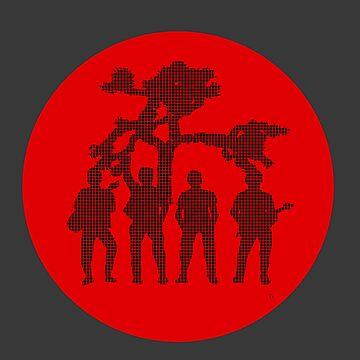 irish rockstars in front of tree in pixels black on red circle by jeremygwa