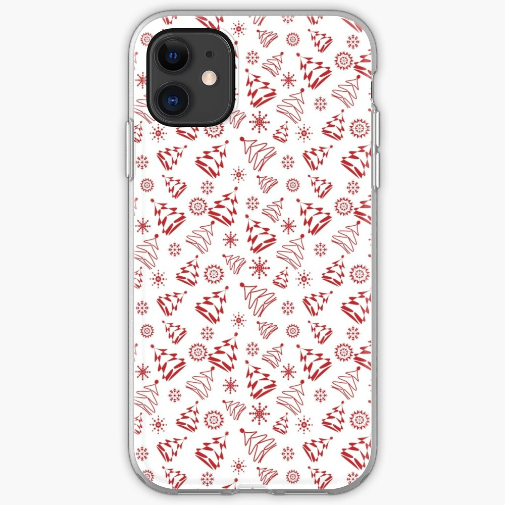 Red Christmas Trees and Snowflakes - by Art and Patterns1 iPhone Soft Case