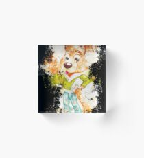 Dog pet dressed watercolor painted Acrylic Block
