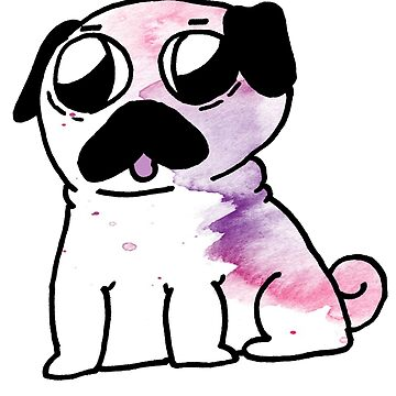 Cute Watercolor Pug by LawsonFiction