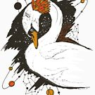 White and Orange Swan Among The Stars by kenallouis