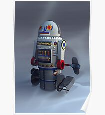 Retro Toy Robot Number 7 Poster