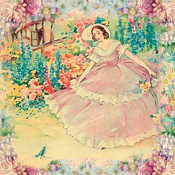Beautiful,painted,vintage,victorian lady,floral garden,birds,nature by love999