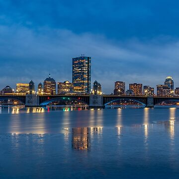 Boston winter night, Longfellow bridge by LudaNayvelt
