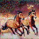 Horses - Abstract Painting by mavisshelton