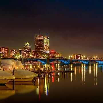 Boston winter night, Longfellow bridge 2 by LudaNayvelt