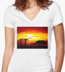 Africa sunset Women's Fitted V-Neck T-Shirt