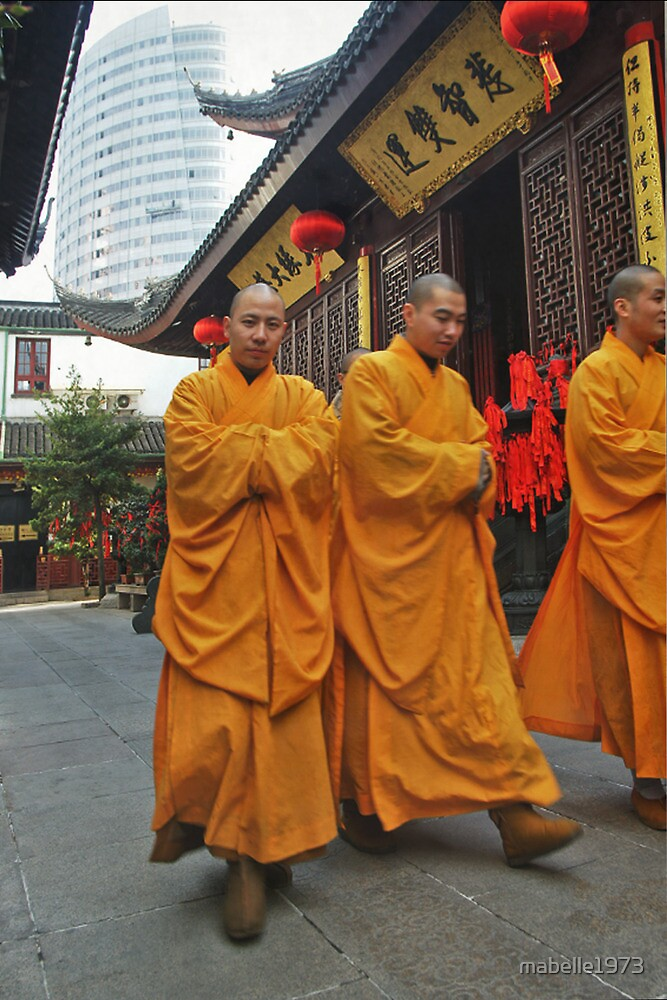 Munks at the Jaden Temple in Shanghai by mabelle1973