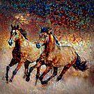 Running Horses - Pointillism by mavisshelton