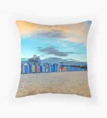 Brighton Beach Bathing Boxes Sunrise Throw Pillow
