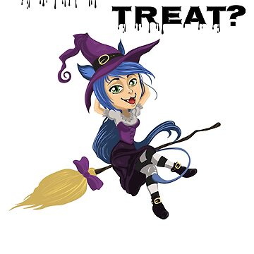 Halloween Trick or Treat Witch on Broomstick by KanigMarketplac