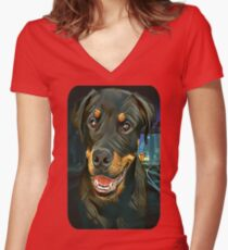 Rottweiler Pup - Waiting for the Train :)  Women's Fitted V-Neck T-Shirt
