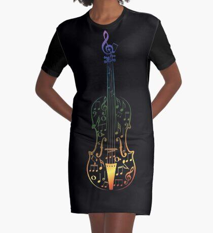 Bunte Violine mit Notizen T-Shirt Kleid