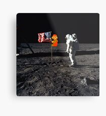 Super Mario On the Moon Metal Print
