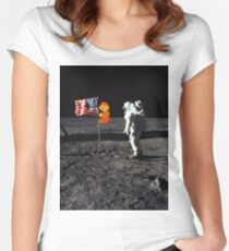 Super Mario On the Moon Fitted Scoop T-Shirt