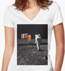Super Mario On the Moon Women's Fitted V-Neck T-Shirt