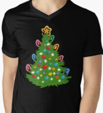 Christmas tree, a cute happy and colorful traditional tree Men's V-Neck T-Shirt
