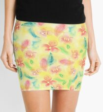 Summer pink yellow romantic floral watercolor Mini Skirt