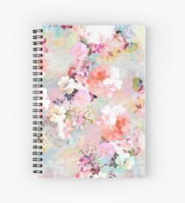 Cuaderno de espiral Romantic Pink Teal Watercolor Chic estampado de flores