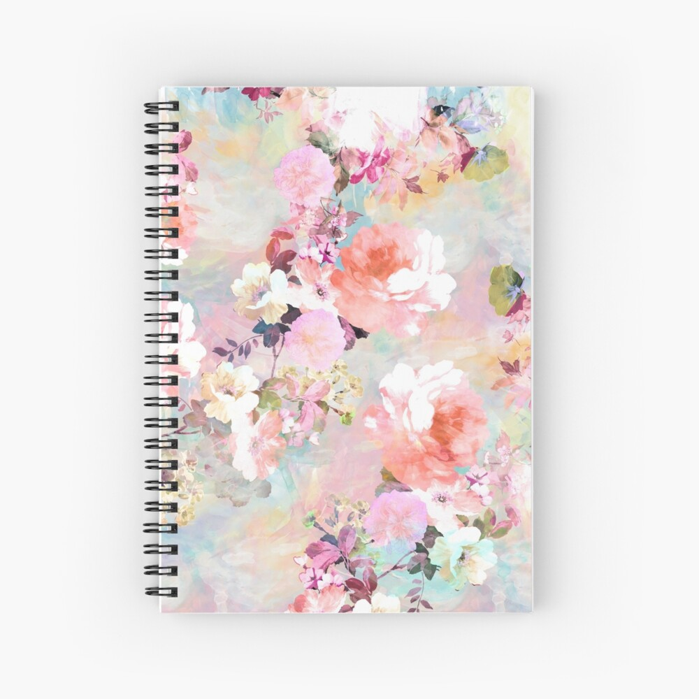 Romantic Pink Teal Watercolor Chic Floral Pattern Spiral Notebook